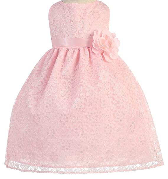db41a64a9 Amazon.com  AkiDress Lovely Floral Lace Flower Girl Dress for Infant ...