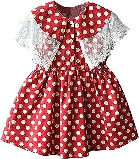Livoral Mädchen Prinzessin Kleid Kind Baby Kind Spitze Patchwork Print Freizeitkleidung