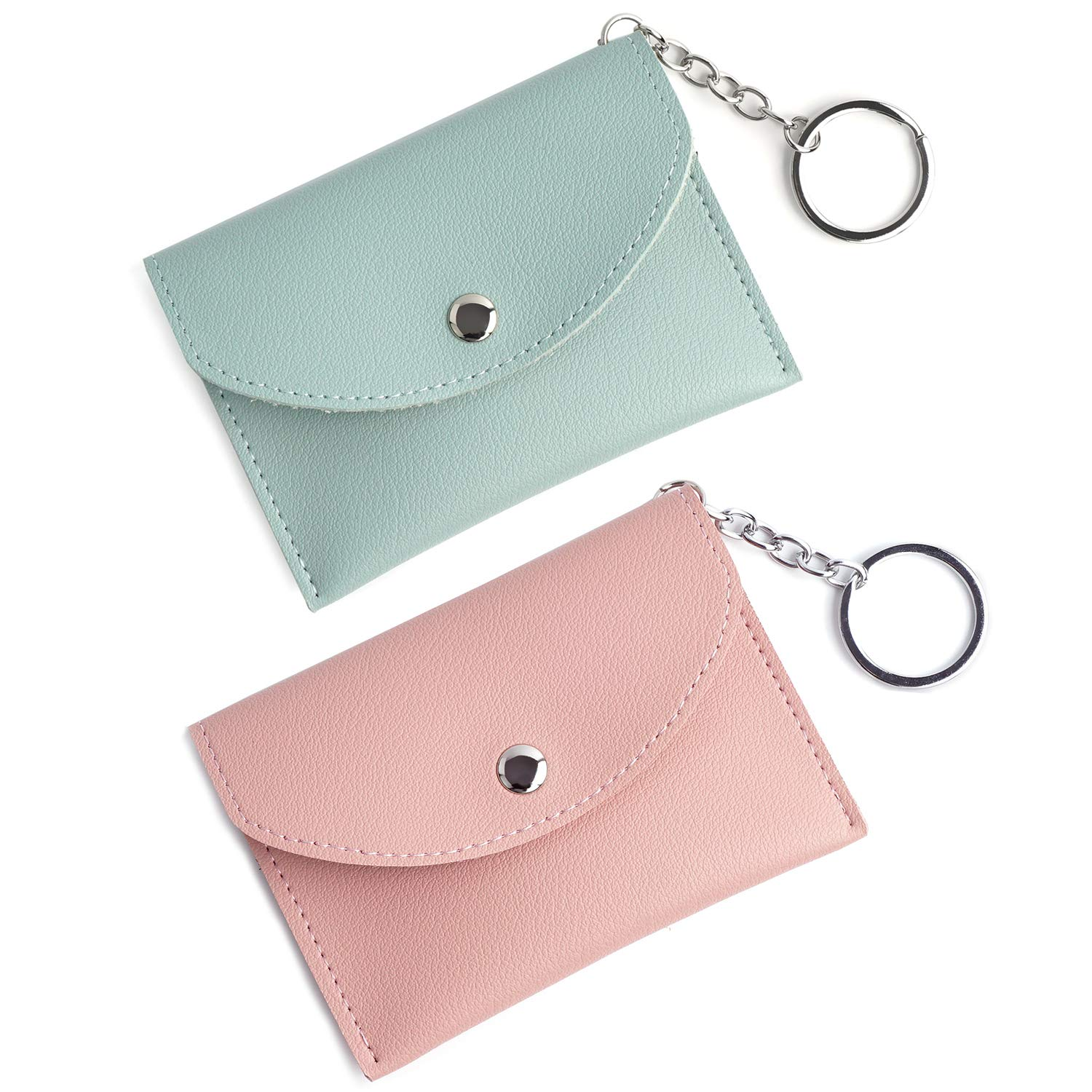 Women's Mini Coin Purse Pouch Change Purse Card Holder Wallet with Key Ring 2 Pack by FALE