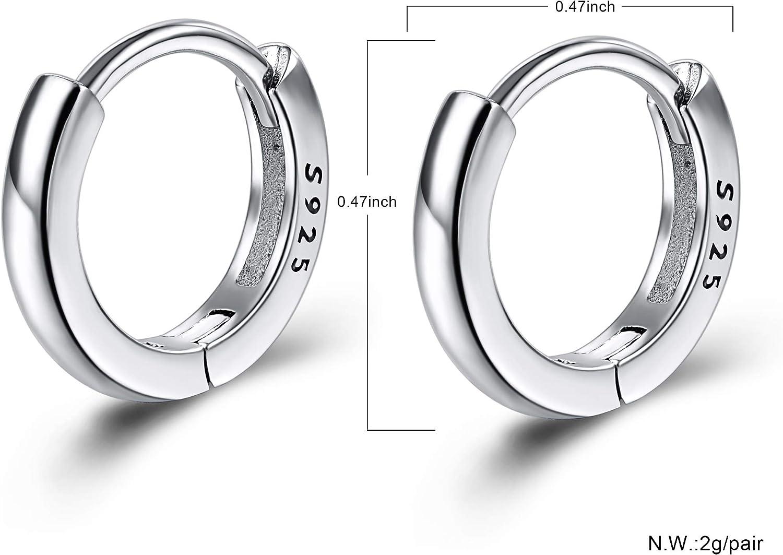 1x Pair 12mm Sterling Silver Round Hinged Hoop Sleeper Earrings