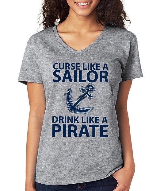 SignatureTshirts Womens Curse Like a Sailor Drink Like a Pirate V-Neck T-Shirt