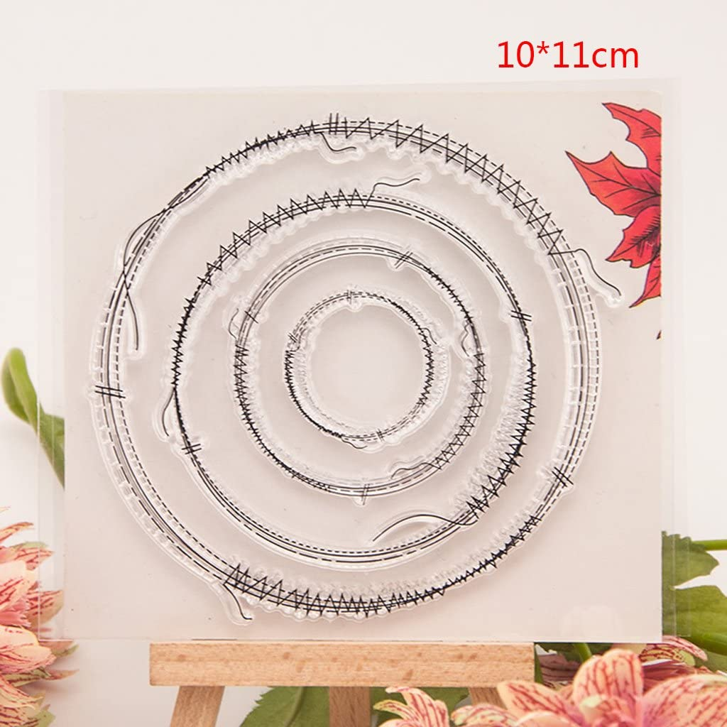 Dabixx Circle Clear Stamps Sheets Transparent Silicone Seal for DIY scrapbooking Craft Card photo album Decorative 10x11cm//3.93x4.33