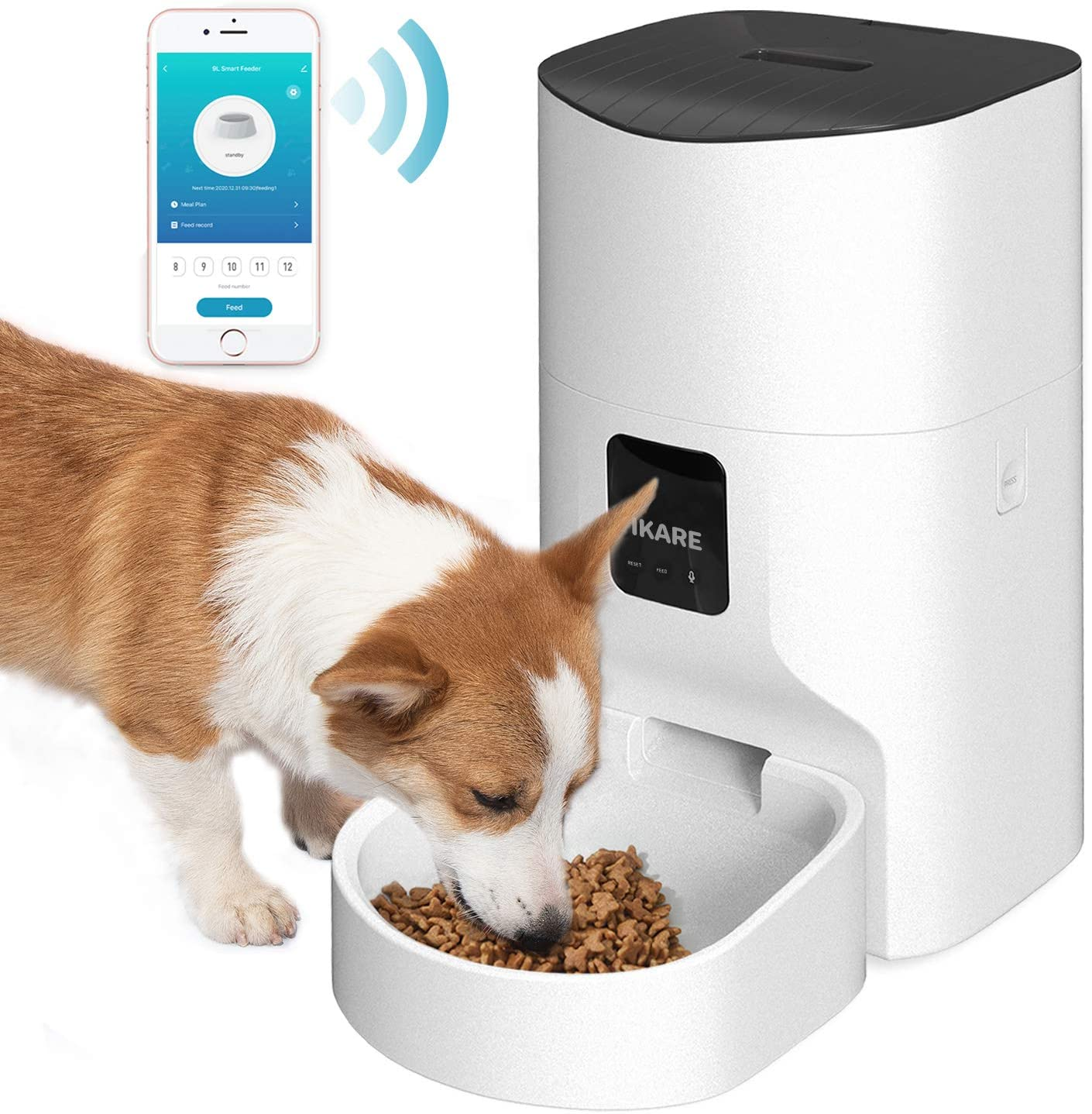 IKARE Automatic Dog Feeder, 9L Auto Pet Cat Food Dispenser Smart Feeder, Portion Control, Programmable Timer for up to 12 Meals per Day, 10s Voice Recorder, Wi-Fi Enabled, App for Android and iPhone