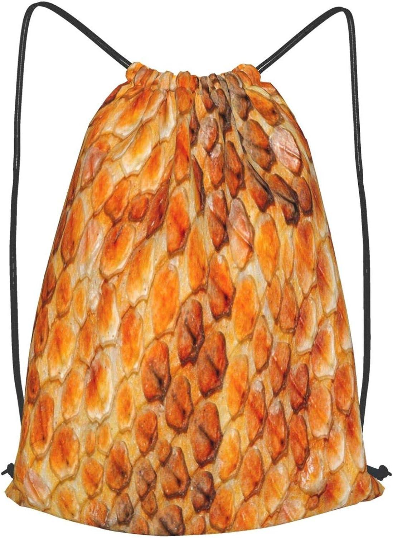 Drawstring Backpack Lizard Pattern Gym Bag