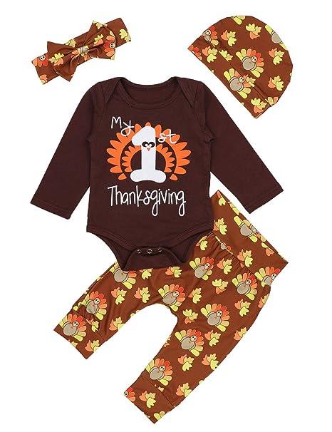4c0b5d0849df Amazon.com: Baby Thanksgiving Outfit Newborn Girls Boys My 1st Thanksgiving  Bodysuit Turkey Pants 4Pcs Clothes Sets: Clothing