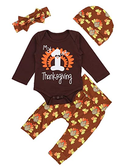 24c95492b Baby Thanksgiving Outfit Newborn Girls Boys My 1st Thanksgiving Bodysuit  Turkey Pants 4Pcs Clothes Sets 6