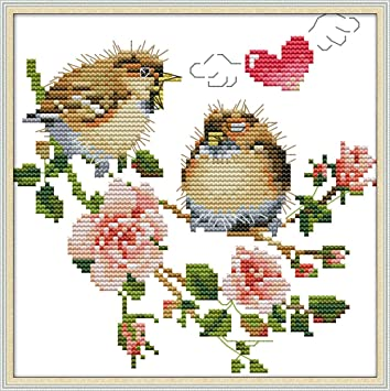 Bird, Counted Awesocrafts The Bird on The Branch Easy Patterns Cross Stitching Embroidery Kit Supplies Christmas Stamped or Counted Cross Stitch Kits