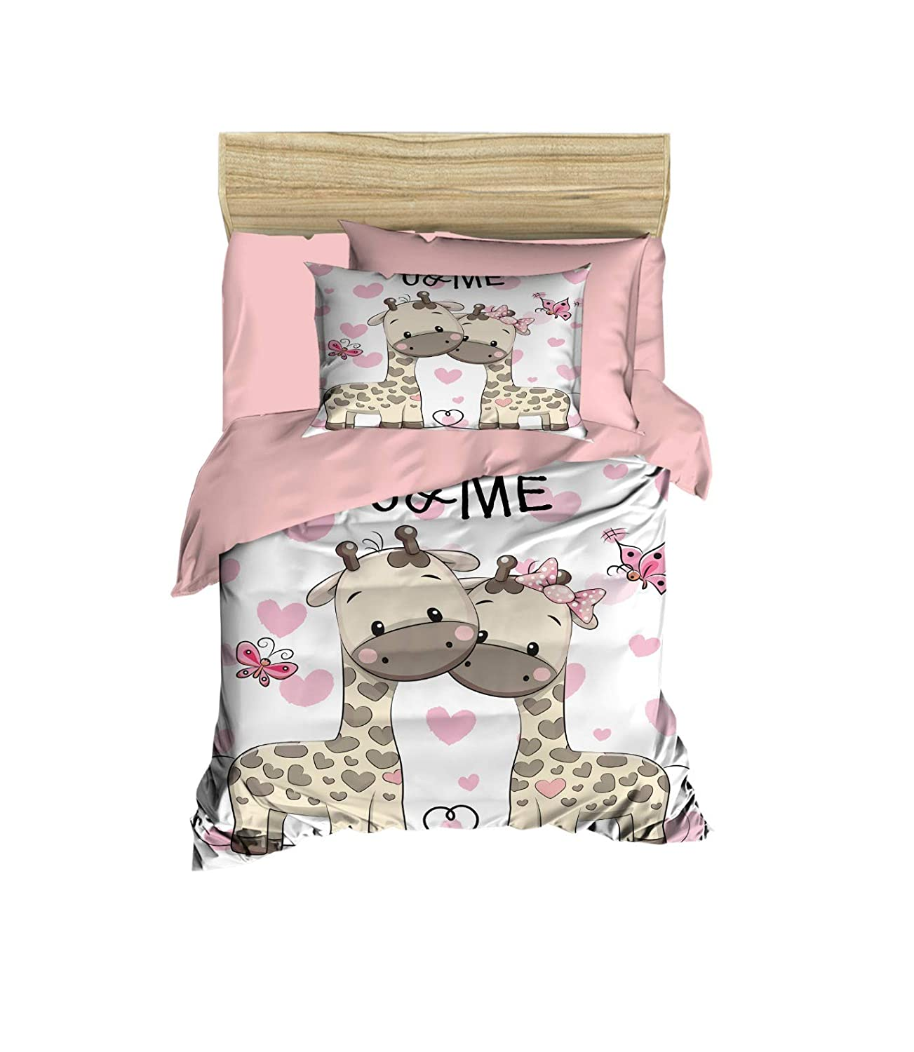 100% Cotton Baby Bedding Giraffe Themed Nursery Baby Bed Set, Toddlers Crib Bedding for Baby Girls, Duvet Cover Set with Comforter, 5 Pieces 71Rl0dYuG4L