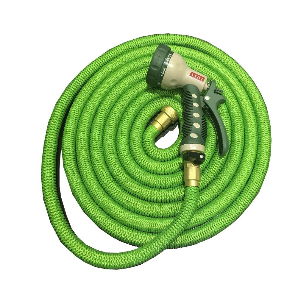 Garden retractable hose Scalable Car wash supplies Garden water pipe Natural latex car washing watering Household spray gun Copper fittings 5000D high-strength cloth cover ABS green , green