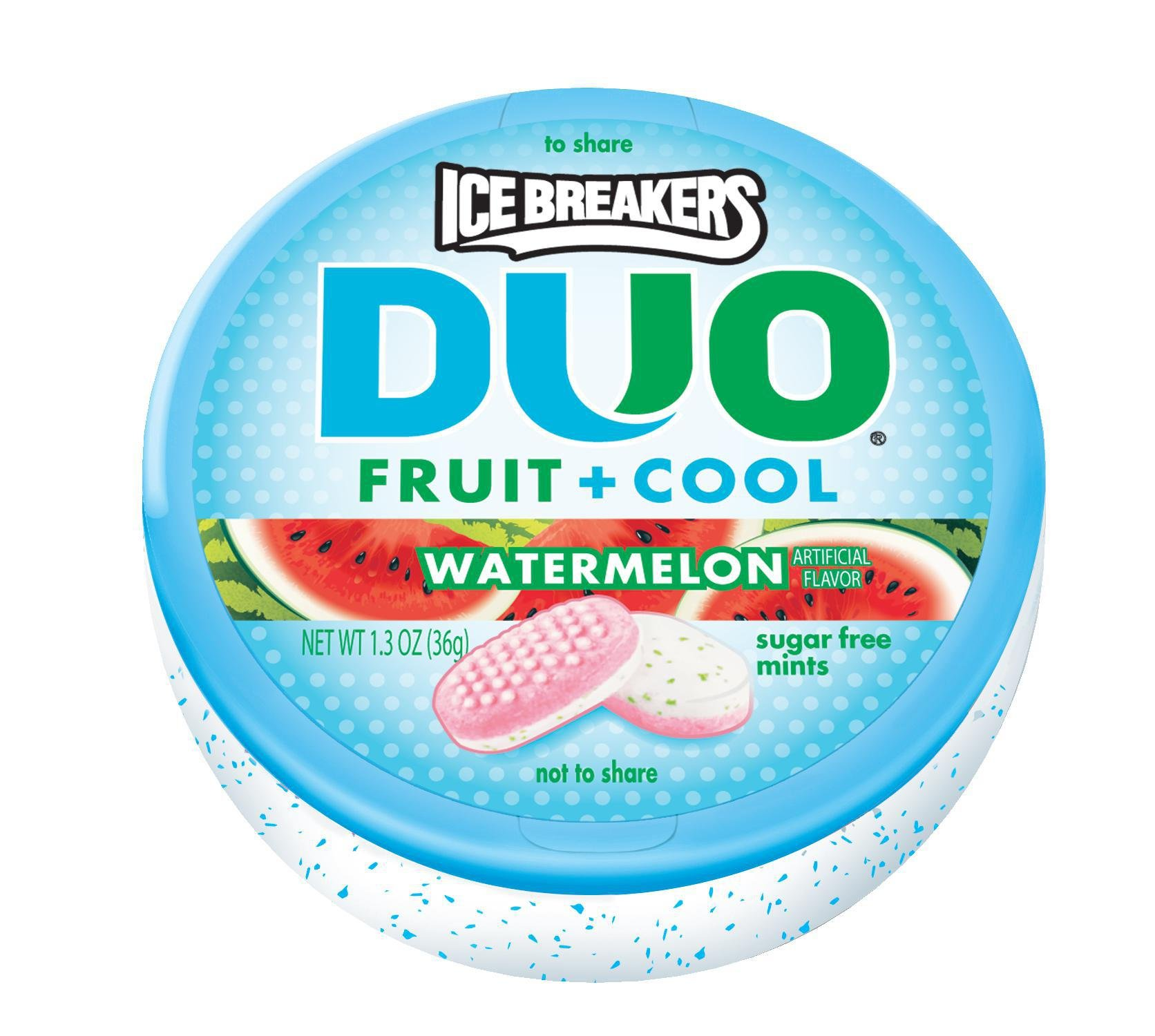 ICE BREAKERS DUO Fruit + Cool Sugar Free Mints (Watermelon, 1.3-Ounce Containers, Pack of 24)