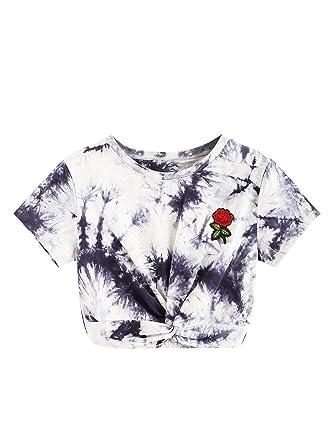 1686e96f064 SweatyRocks Women's Tie Dye Twist Front Short Sleeve Crop Top T Shirt  Multicolor XS