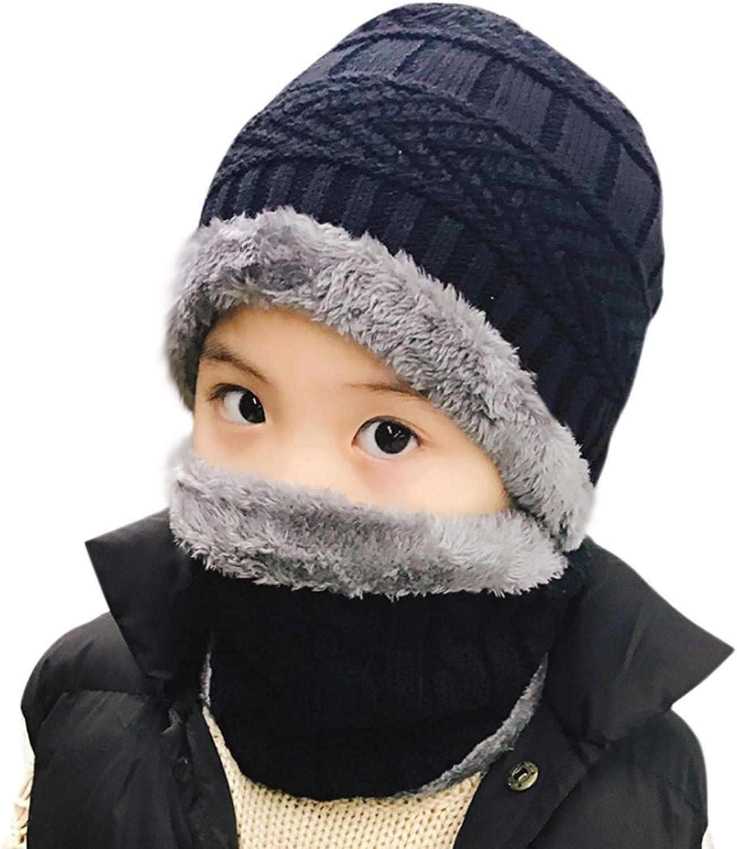 Gaatpot Kinder Winterm/ütze Schal Set Jungen Beanie Schlauchschal M/ädchen Strick M/ütze mit Fleecefutter grau
