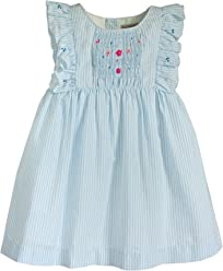 5a95eb2f07b Little Girl s Angel Smocked Dress in Cotton Seersucker