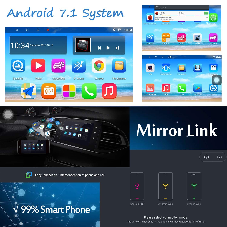 16G ROM 16G SD Carte 7 Pouces 2 Din FM//AM//RDS Radio WiFi Tactile /écran multim/édia Lecteur GPS Navigation /… Panlelo Android Voiture st/ér/éo Vue arri/ère cam/éra Quad Core 1G RAM