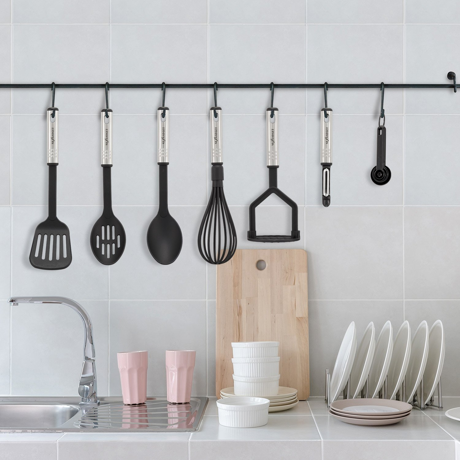 NexGadget Premium Kitchen Utensils 38 Pieces Kitchen Utensils Sets Stainless Steel And Nylon Cooking Tools Spoons, Turners, Tongs, Spatulas, Pizza Cutter, Whisk And More by NEXGADGET (Image #7)