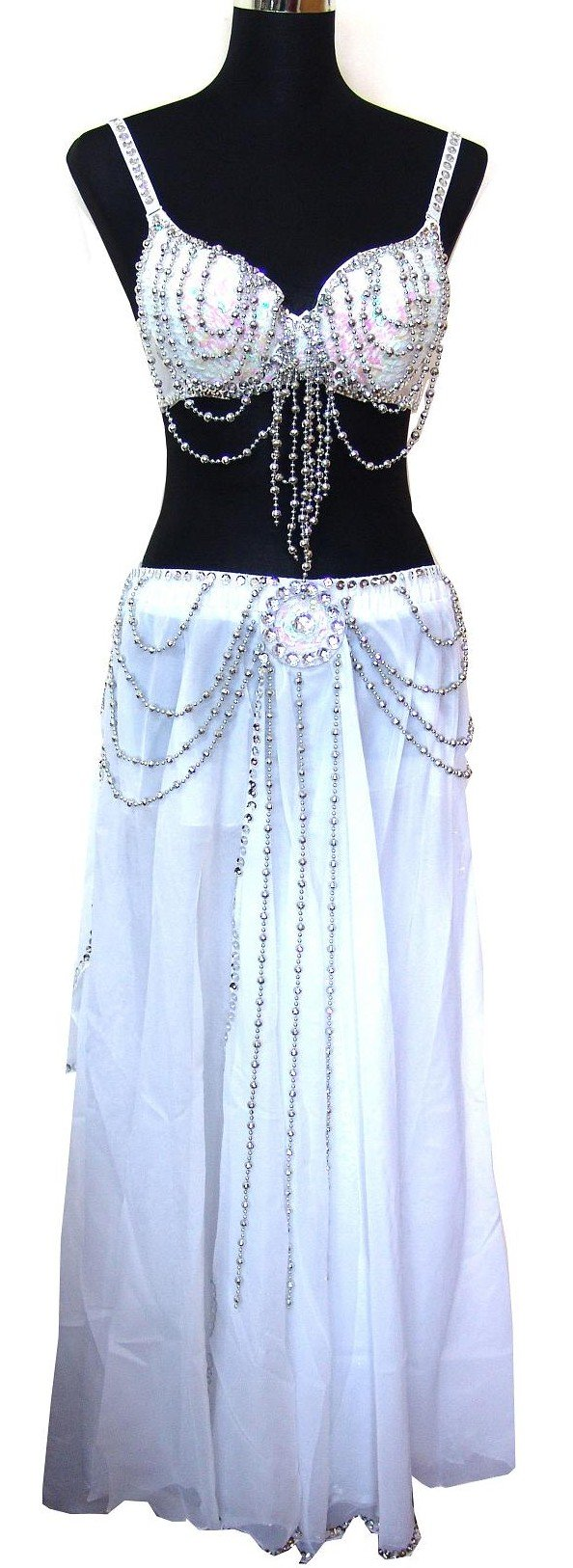 Professional Belly Dance Sequin Dangling Beaded Bra Top & Skirt Set --White 34A/B by Belly Dance Costume