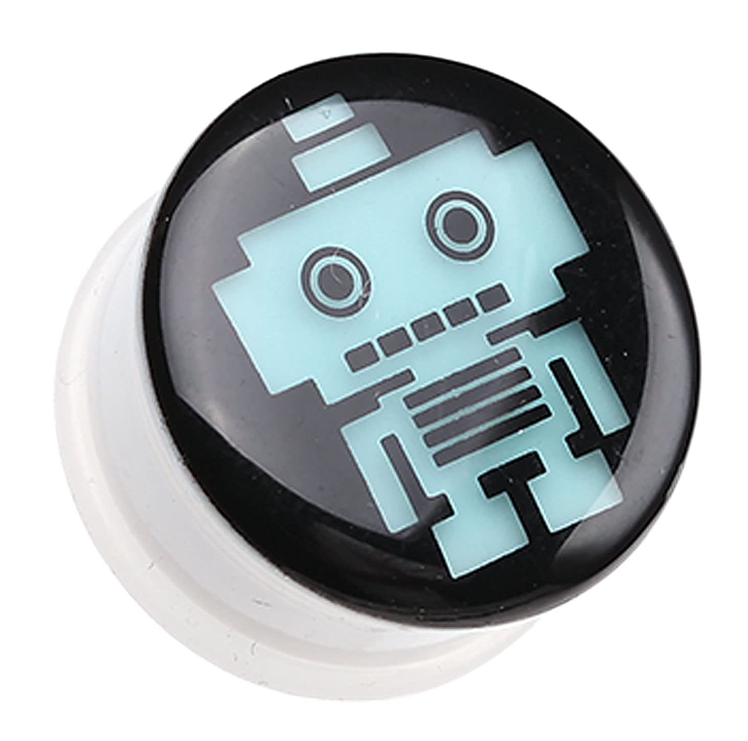 Sold as a Pair Glow in the Dark Robot Single Flared Ear Gauge Plug