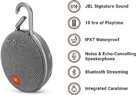 Jbl Clip 3 Bluetooth Lautsprecher In Grau Wasserdichte Tragbare Musikbox Mit Praktischem Karabiner Bis Zu 10 Stunden Kabelloses Musik Streaming Audio Hifi