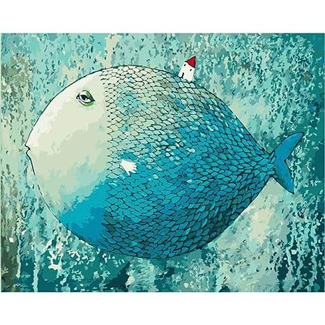 RYUANYUAN Ozean Leinwand Blau Fisch Digital Malen Nach ...