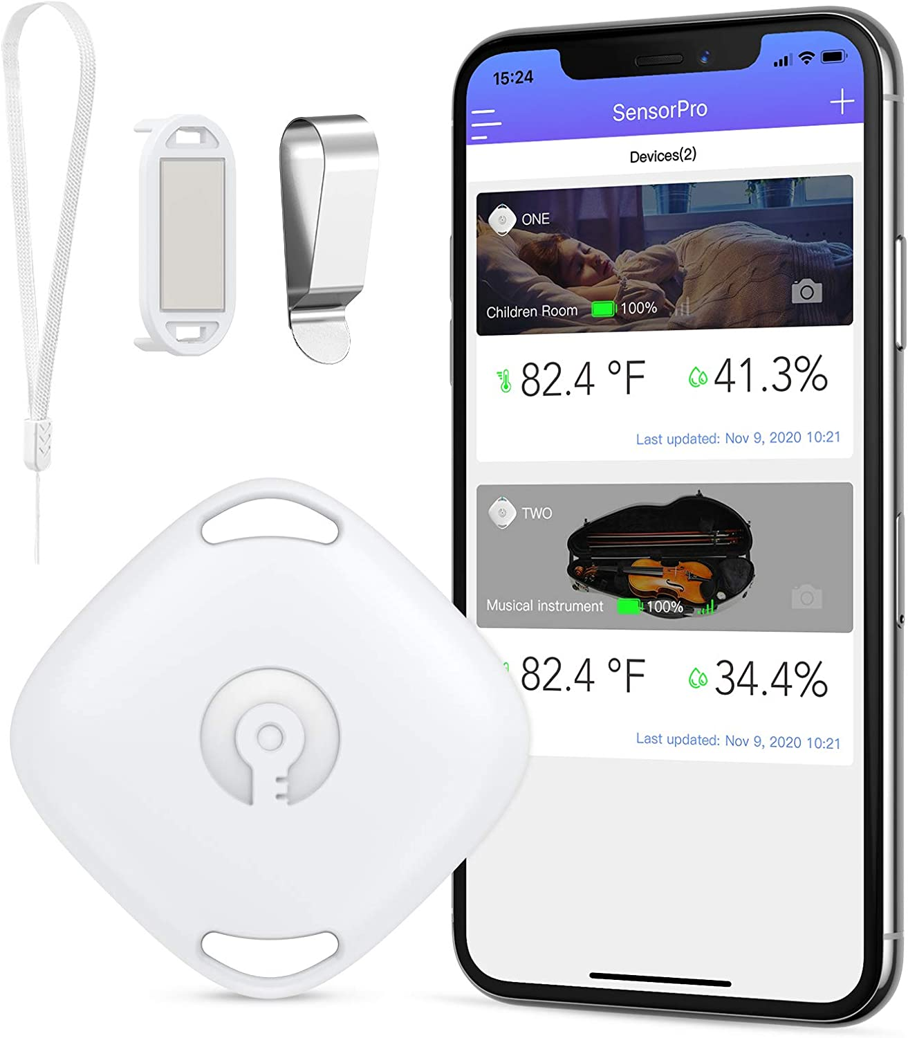 ORIA Bluetooth Room Temperature Monitor, LCD Bluetooth Humidity Monitor with Data Storage, Indoor Thermometer Hygrometer Gauge with Alert, Free Data Export Temp Humidity Sensor for Home Greenhouse