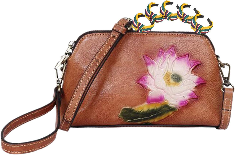 GGLZMMF Cuero Repujado Señoras De La Bolsa De Mensajero Floral Retro del Bolso De Hombro Mini Bolso Cuadrado Pequeño Bolso De La Vida Casual Marrón Oscuro Marrón Verde Brown-OneSize