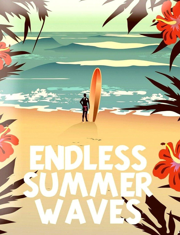 Endless Summer Waves Affiche /Étain M/étal Mur Signe Vintage Plaque R/étro Attention D/écorative M/étallique Panneau pour Caf/é Bar Chambre H/ôtels Clubs Parc