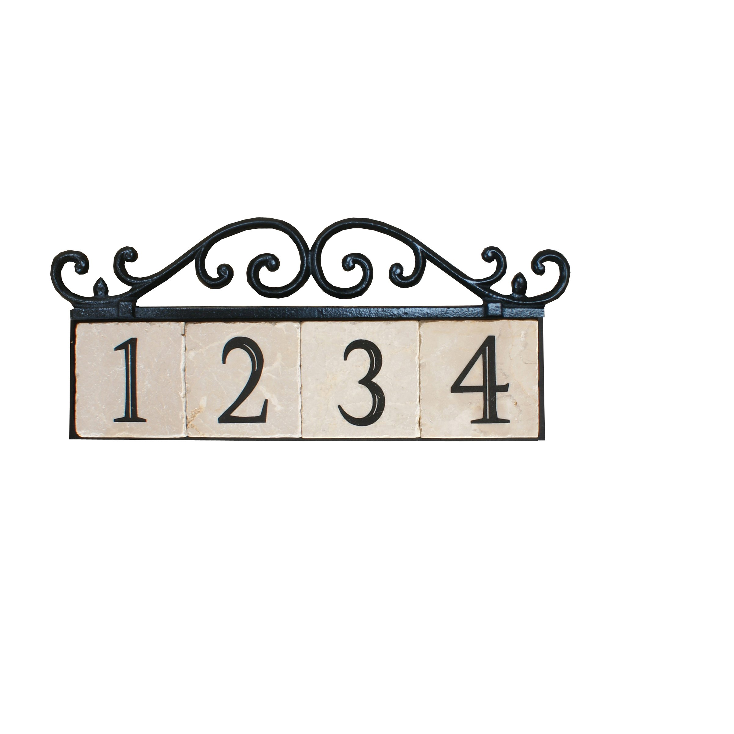 NACH KA House Address Sign/Plaque - Old World, 4 Numbers, Iron, 17 x 8 x 1''