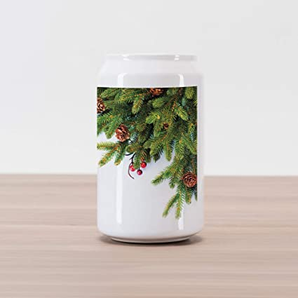Amazon Com Ambesonne Christmas Cola Can Shape Piggy Bank Evergreen
