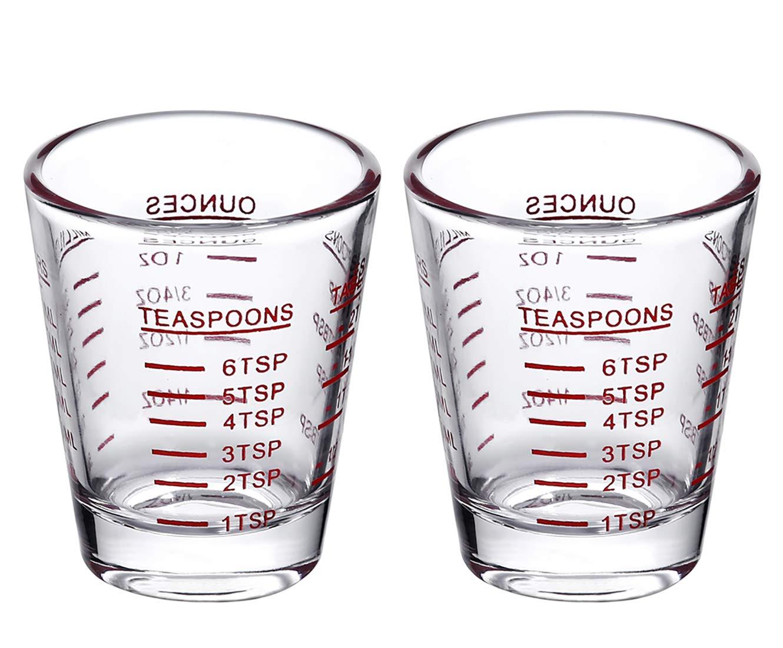 Shot Glasses Measuring cup Espresso Shot Glass Liquid Heavy Glass Wine Glass 2 Pack 26-Incremental Measurement 1oz, 6 Tsp, 2 Tbs, 30ml (2 pack-red) by BCnmviku
