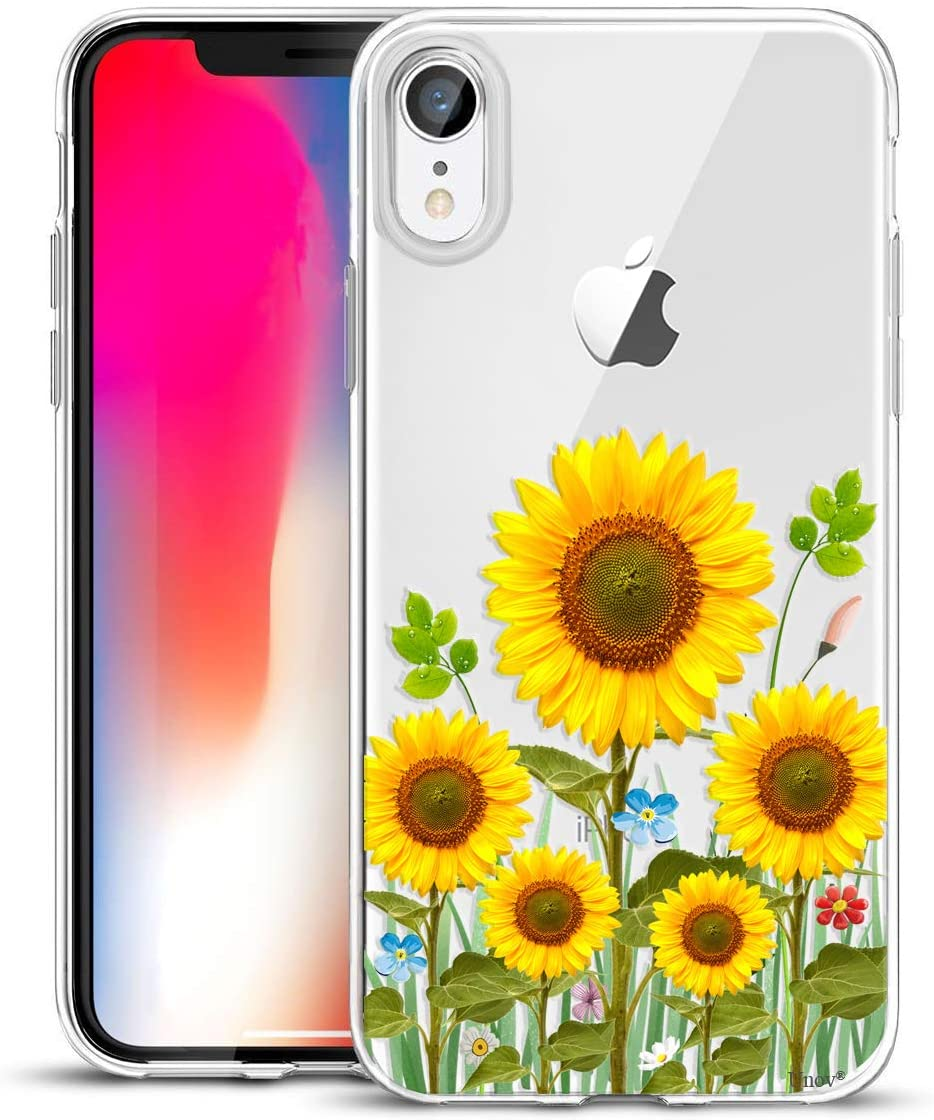 Unov Case Compatible with iPhone XR Case Clear with Design Slim Protective Soft TPU Bumper Embossed Pattern 6.1 Inch (Sunflower Blossom)