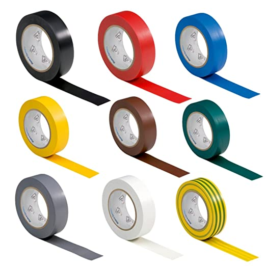 6 opinioni per 9 rotoli VDE electrical tape insulating tape PVC 15mm x 10 m DIN EN 60454-3-1