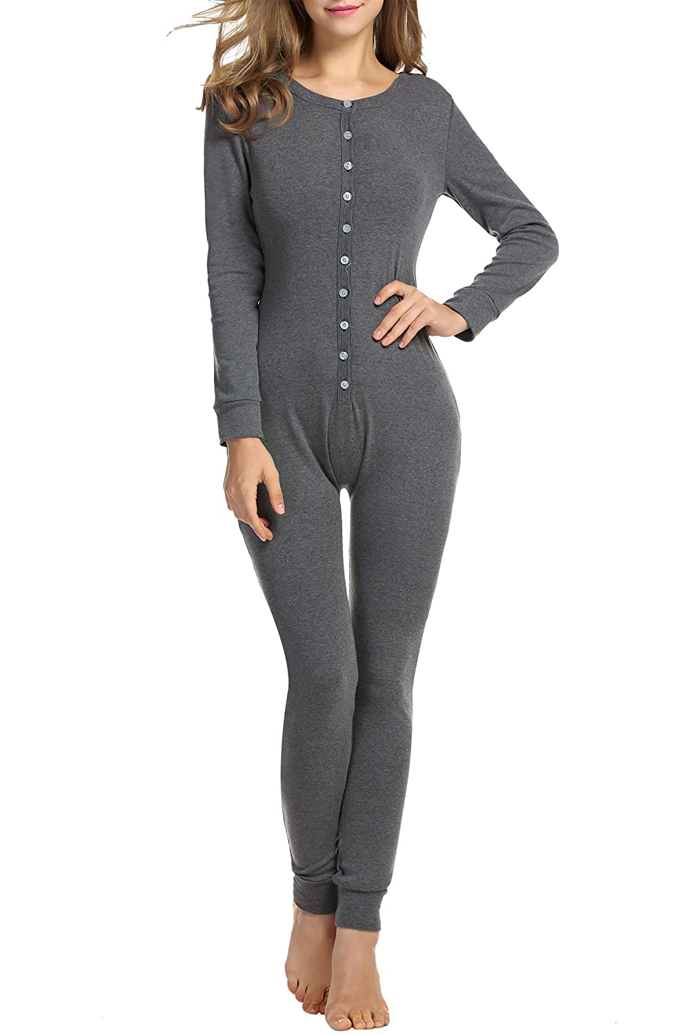 HOTOUCH Womens Long Sleeve Union Suit Thermal Underwear One Piece Dark Grey M *COK005180_DGR_M