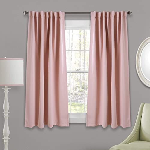 Lush Decor Pink 1 Insulated Back Tab Blackout Window Curtain Panel Pair