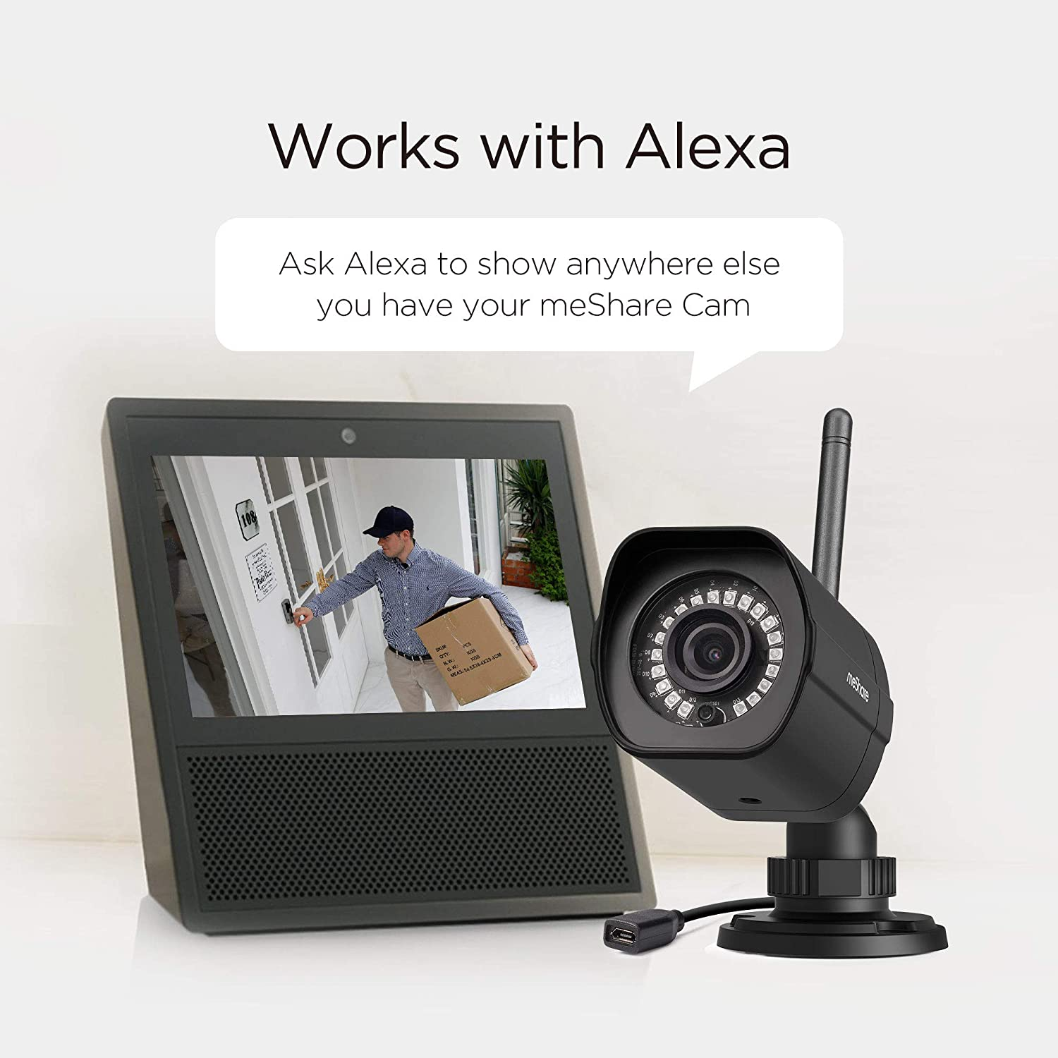 meShare Security Camera System Wireless Smart Motion Alerts and Weatherproof Power Supply Included 865048 4 Pack -1080p Outdoor Camera Smart Home WiFi IP Camera with Night Vision Works with Alexa