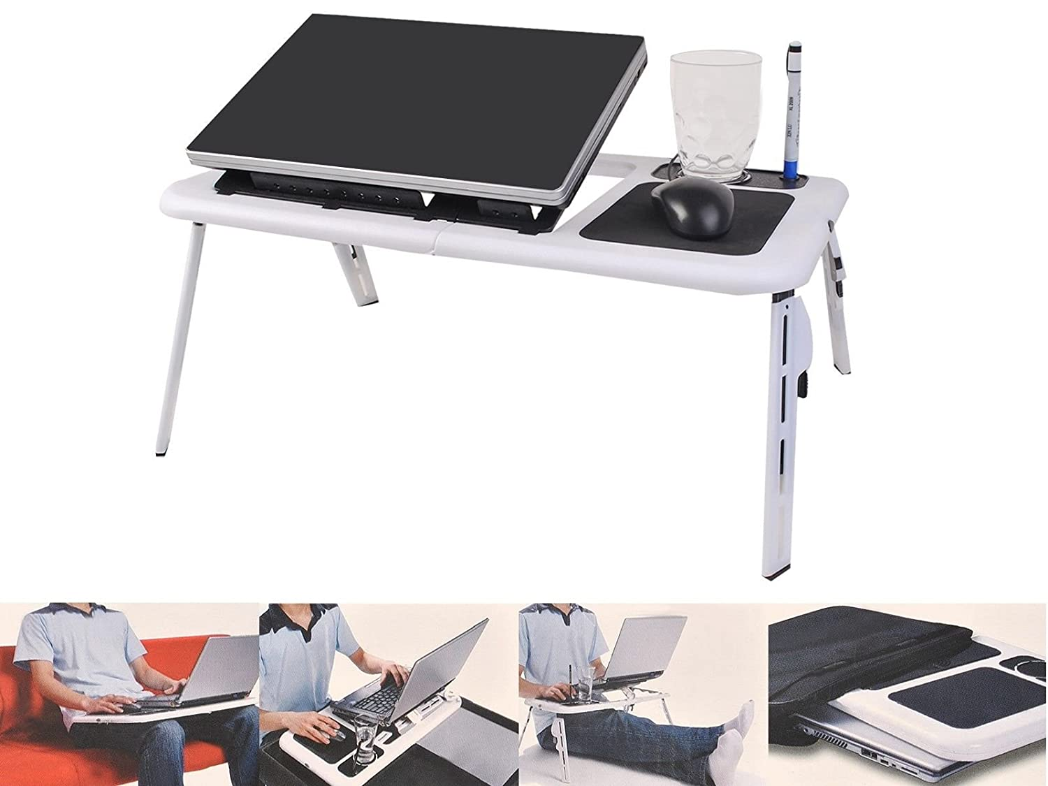 Amazon.com : Foldable Laptop Table Tray Desk W/Cooling Fan Tablet Desk  Stand Bed Sofa Couch By SNC : Office Products