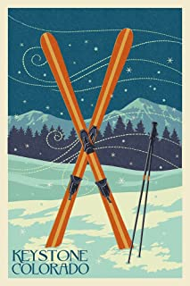 product image for Keystone, Colorado - Crossed Skis - Letterpress (24x36 Giclee Gallery Print, Wall Decor Travel Poster)