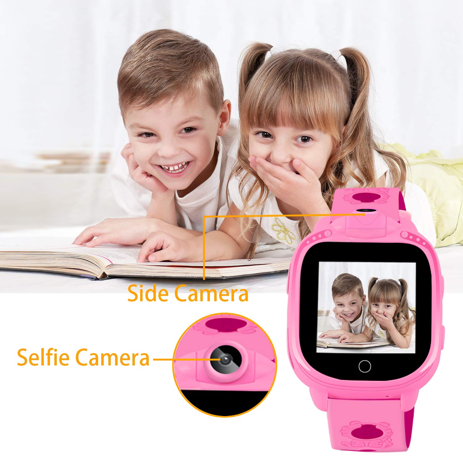Prograce Kids Smart Watch with 90°Rotatable Camera Smartwatch Touch Screen Kids Watch Music Pedometer Flashlight FM Radio Games Digital Wrist Watch for Girls Electronic Learning Toys by Prograce (Image #3)