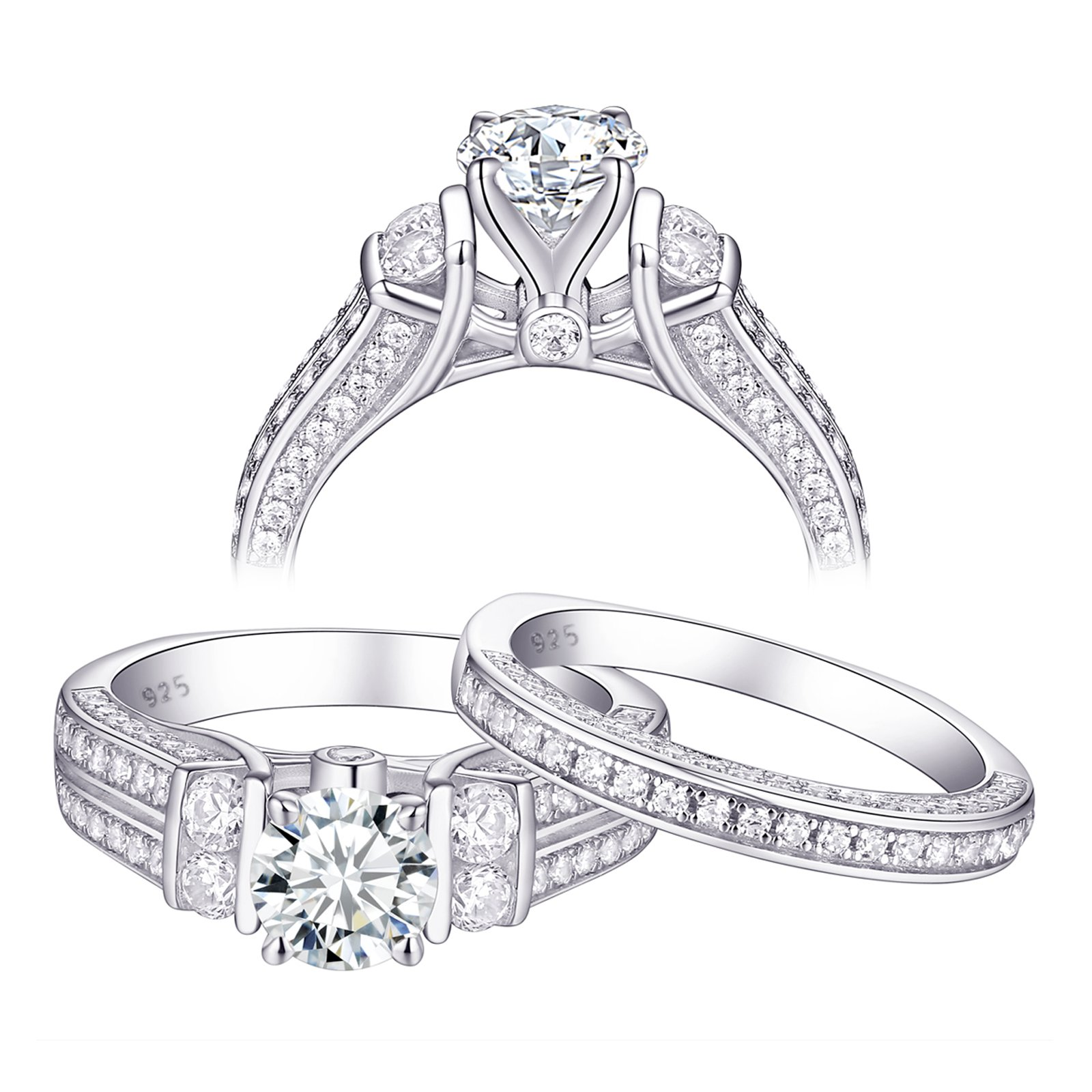 Newshe Round Engagement Wedding Ring Set for Women 925 Sterling Silver White AAA Cz Bridal Sets Size 9