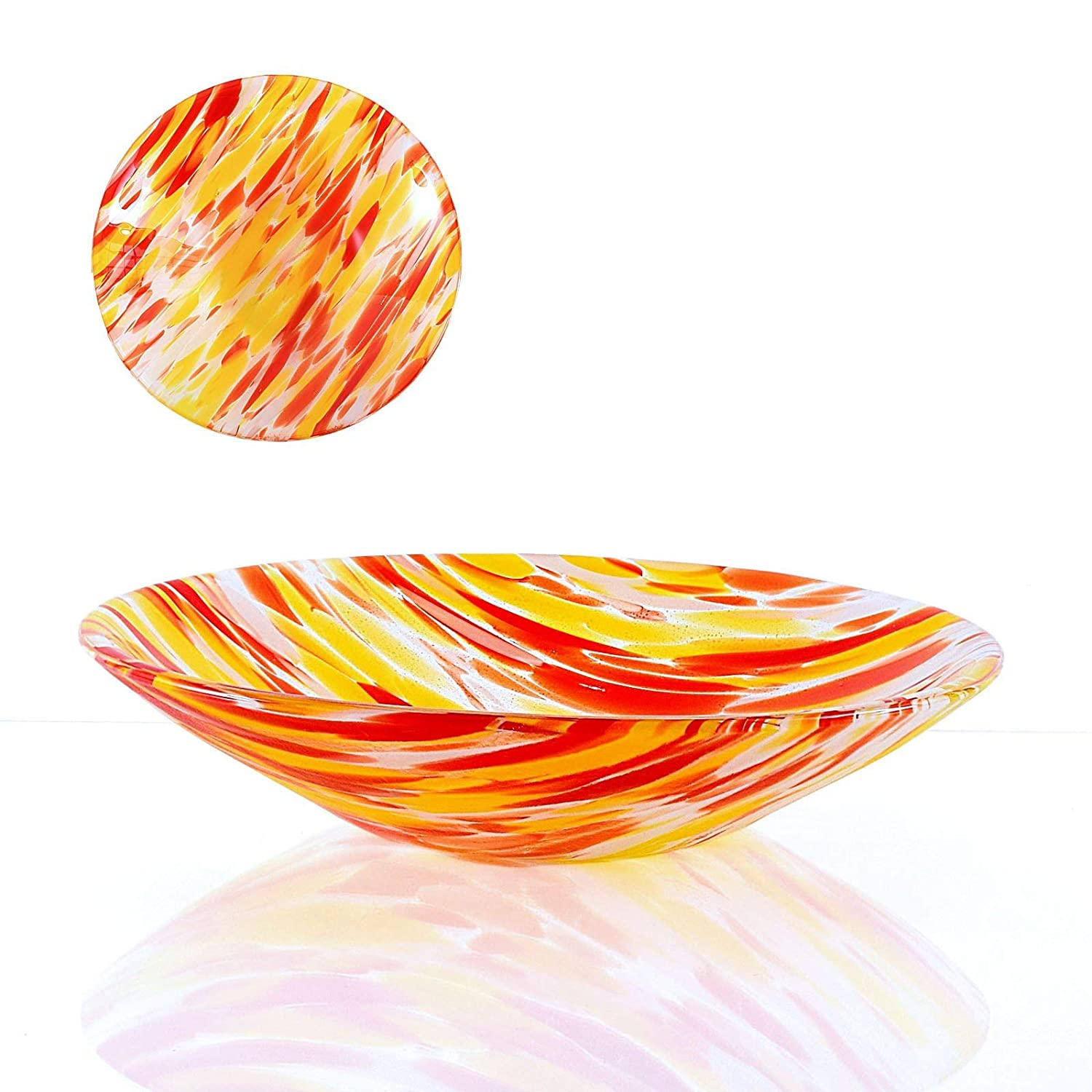 Modern Glass Art Red and Yellow Fruit Bowl