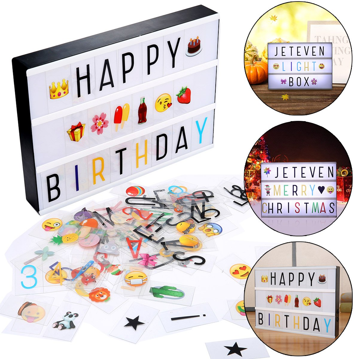 Jeteven Cinema LED Letter Light Box with 210 Letters, Emoji & Numbers, A4 Size Decorative Signs for New Year Valentine's Day Birthday Party, USB/Battery Powered JETEVENLorvsap2796