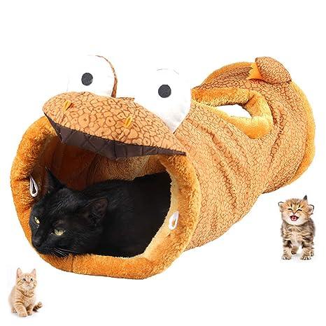 UniM Pet Interactive Play Gato túnel multifunción cálido Snug Alfombra Mat Cama con Crinkle Sonido,