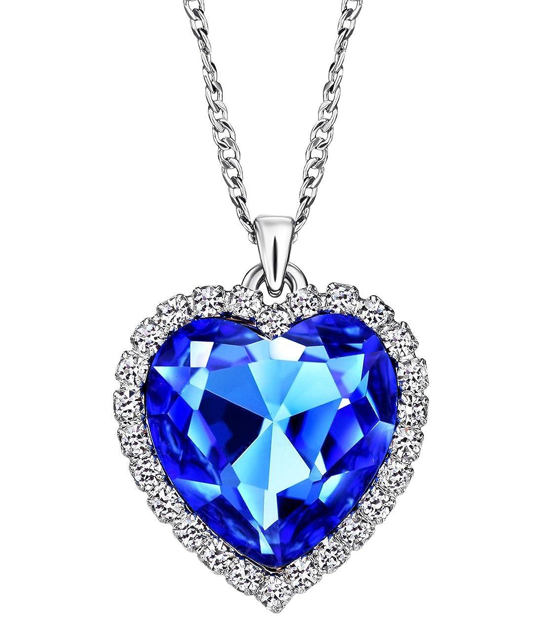 fb907fbae48a NEOGLORY Collar de Corazón Amor Love Heart con Cristal Azul Joya Regalo  Mujer Chica  Amazon.es  Joyería
