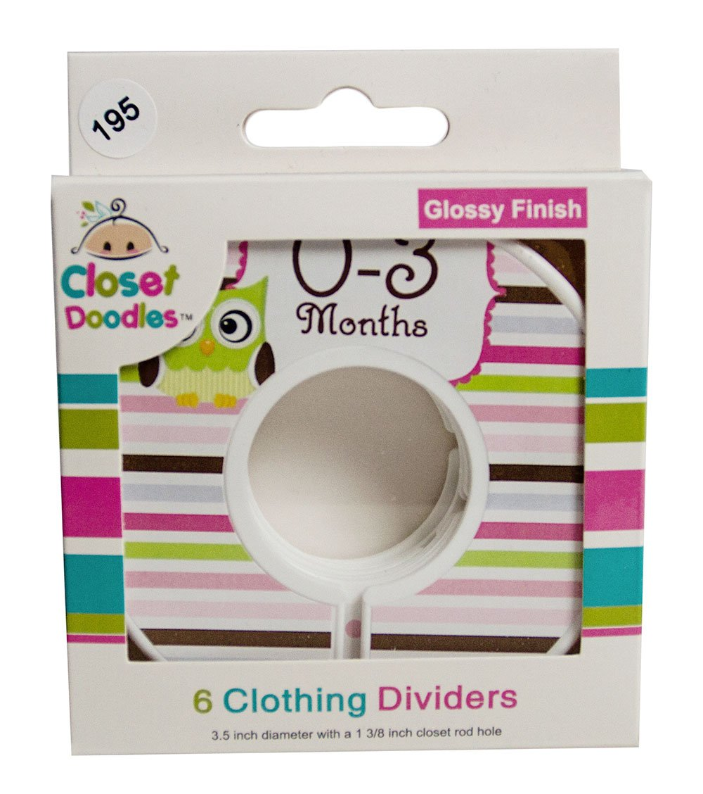 Closet Doodles C195 Owl Girl Baby Clothing Dividers Set of 6 Fits 1.25inch Rod