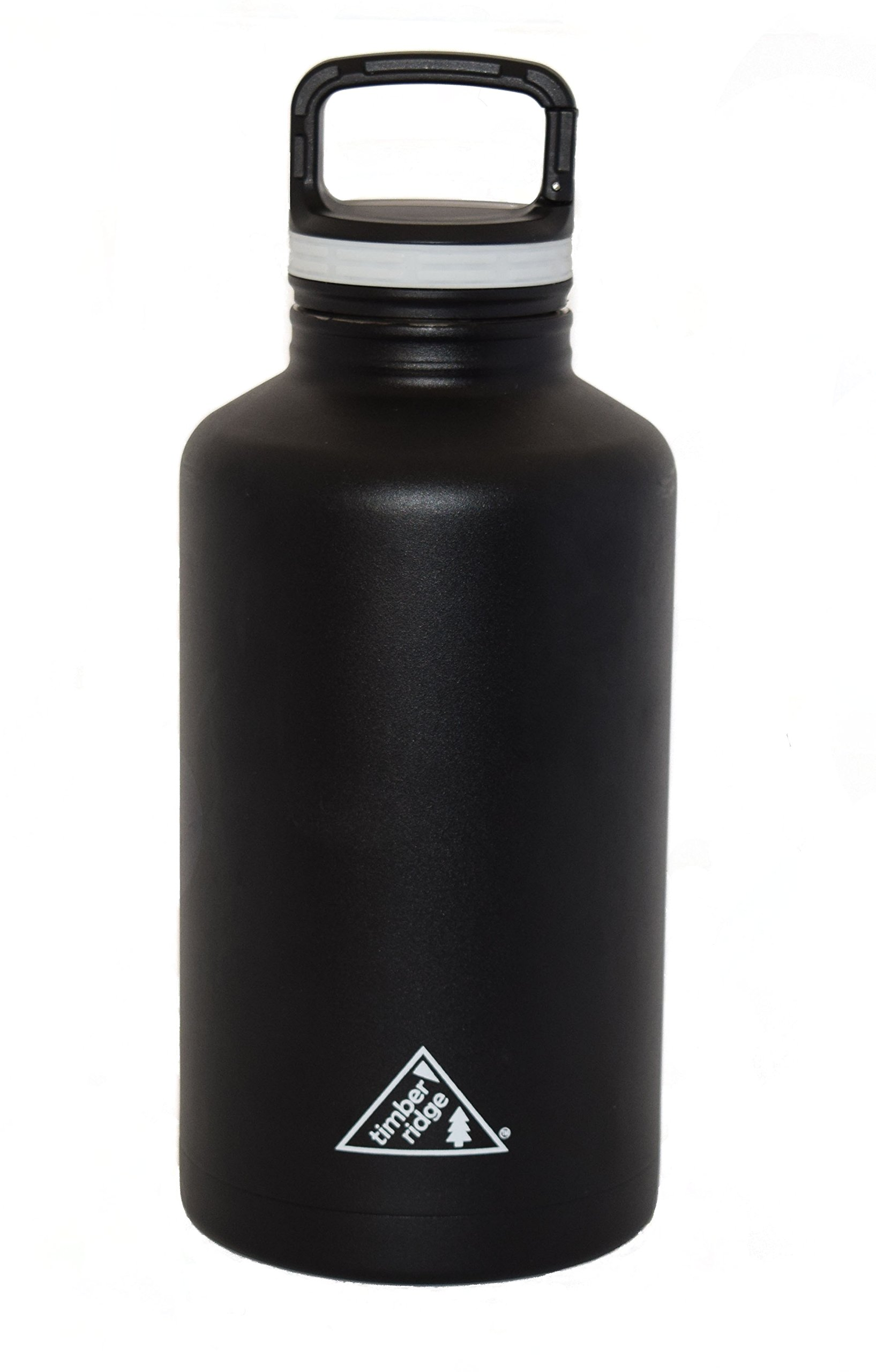 64 oz Stainless Steel Insulated Growler / Half Gallon Water Bottle - Vacuum Sealed Double Wall - Black - Wide Mouth with Caribiner Lid