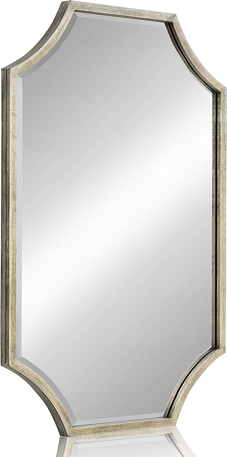 "Large Decorative Mirror for Wall - Metal Framed Wall Mirror with 1 inch Bevel for Living Room, Bedroom & Bathroom (Antique Silver, 24""x36"")"