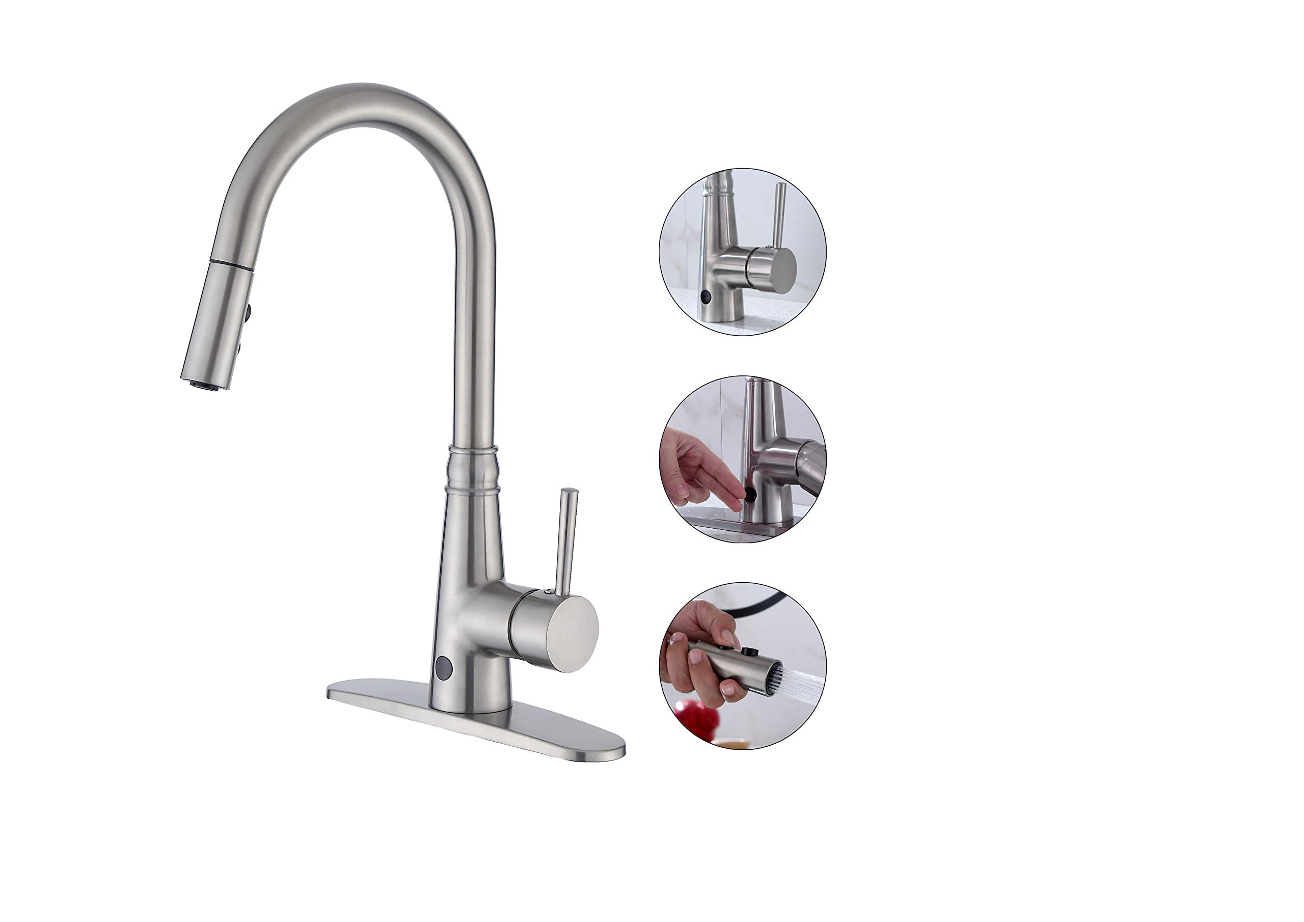 BuyHive Sensor Kitchen Faucet Touchless Pull Down Sprayer Touch Motion Sink Mixer Tap Single Handle by BuyHive