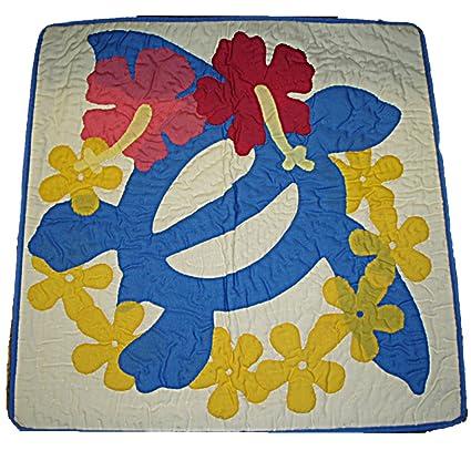 Hawaiian Honu tortuga y flores acolchado manta almohada ...
