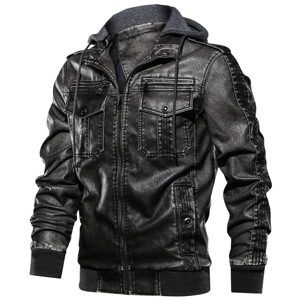 JYG Men's Faux Leather Motorcycle Jacket with Removable Hood (Black-2902, XX-Large) by JYG