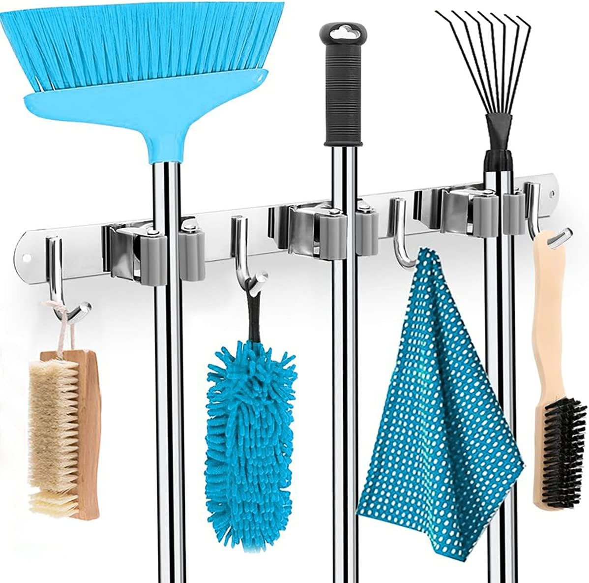 Mop and Broom Holder Wall Mount SUS 304 Stainless Steel Storage and Organization Tool OrganizerWall Hanger with 3 Racks 4 Hooks for Laundry Room Garage Garden Closet (Sliver, 1 Pack)