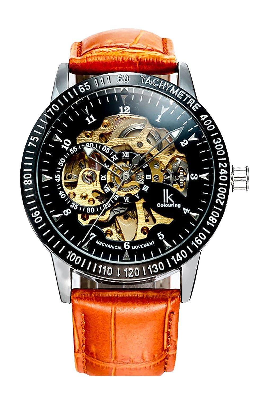 GuTeファッションブラックスチームパンク自動機械腕時計メンズオレンジストラップIK ブラック B00ZHAYKZ4ブラック